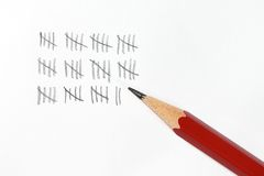 Tally marks and pencil Royalty Free Stock Image
