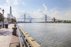 Talmadge Erinnerungsbrücke in der Savanne, Georgia Stockfotografie