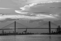 Talmadge Memorial Bridge, Savannah, GA. The historic Talmadge Memorial Bridge linking South Carolina to Savannah, GA Stock Photography