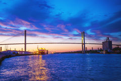 Talmadge Memorial Bridge in Savannah. Georgia at dask Stock Image