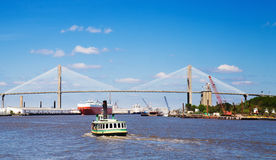 Talmadge Memorial Bridge in Savannah. Ship entering port of Savannah - Talmadge Memorial Bridge Stock Image