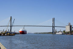 Talmadge Memorial Bridge. The Talmadge Memorial Bridge spans the Savannah River Stock Photography