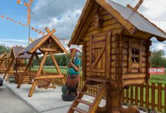 Children`s playground with heroes of Russian fairy tales on the territory of the Restaurant TAVERNA at Uncle Vity of the. Talmenka, Russia - July 11, 2015 Royalty Free Stock Photography