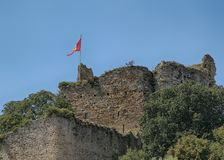 Talmont Saint Hilaire, Chateau ruins, Vendee, France. Showing Vendee Flag stock photos