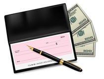 Talonario de cheques negro con la verificación, la pluma y los dólares