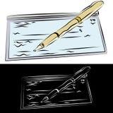 Talonario de cheques y pluma Fotos de archivo libres de regalías