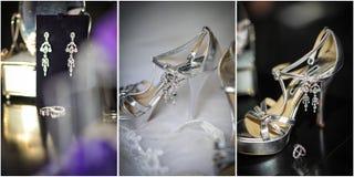 Talons hauts épousant des chaussures Anneaux, boucles d'oreille et accessoires de mariage Photographie stock libre de droits