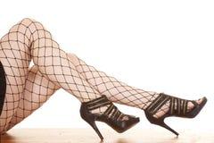 Talons nets de jambes de femme Images stock