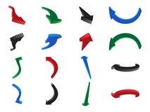 Talrijke gevormde kleurrijke pijlen die in verschillende richtingen wijzen Stock Fotografie