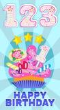 Talstearinljus på kakan på berömmen för baby'sens födelsedag och söt muffinvektor ställde in illustrationen Arkivbilder