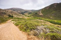 Talstraße im Landspitzenbereich an einem nebeligen Sommertag, Golden Gate-nationales Erholungsgebiet, Marin County, Kalifornien stockfotos