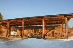 Taltsy, Irkutsk region, Russia, March, 02, 2017. Architectural ethnographic museum Taltsy. Internal courtyard of the farm of Nepom stock photos