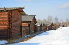 Taltsy, Irkutsk region, Russia, March, 02, 2017. Irkutsk architectural-ethnographic Museum `Taltsy`. The reconstructed streets of royalty free stock images