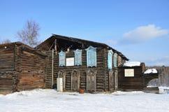 Taltsy, Irkutsk-Region, Russland, März, 02, 2017 Das Haus von Mogileva, 1886 das Baujahr Irkutsk Architektur-ethno lizenzfreies stockfoto
