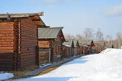 Taltsy, Irkutsk-Region, Russland, März, 02, 2017 Museum Irkutsks Architektur-ethnographisches ` Taltsy-` Die wieder aufgebauten S lizenzfreie stockbilder