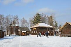 Taltsy, Irkutsk-Region, Russland, März, 02, 2017 Museum Irkutsks Architektur-ethnographisches ` Taltsy-` Die wieder aufgebauten S stockfoto