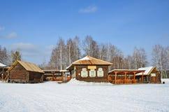 Taltsy, Irkutsk-Region, Russland, März, 02, 2017 Museum Irkutsks Architektur-ethnographisches ` Taltsy-` ` Talitsky-Keramik ` und stockfoto
