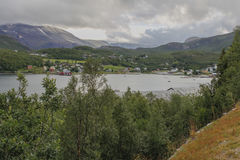 Talvik. Cloudy day in Talvik, northern Norway stock images