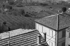 Taly. Tuscany region. Montepulciano town. In black and white ton Stock Images