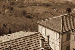 Taly. Tuscany region. Montepulciano town. In Sepia toned. Retro Stock Image