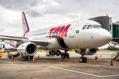 TAM航空公司飞机在瓜鲁柳斯机场在圣保罗,巴西 免版税图库摄影