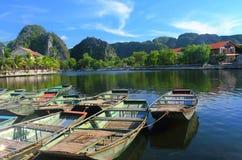 Tam coc boat harbor Stock Photo