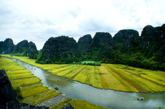 Tam Coc Natioanl Park. Karst formation in the water, Most spectacular scenery in Vietnam's Stock Photo