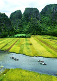 Tam Coc Natioanl Park. Karst formation in the water, Most spectacular scenery in Vietnam's Royalty Free Stock Photography