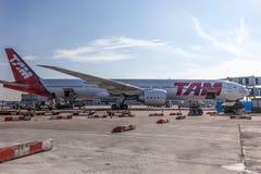 TAM linie lotnicze Boeing 777-300ER przy Frankfurt lotniskiem fotografia stock
