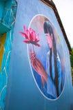 TAM THANH,三歧市,越南- 2017年3月16日:被绘的墙壁,街道艺术在Tam Thanh壁画村庄 库存照片