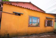 TAM THANH,三歧市,越南- 2017年3月16日:被绘的墙壁,街道艺术在Tam Thanh壁画村庄 免版税库存图片