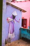 TAM THANH,三歧市,越南- 2017年3月16日:被绘的墙壁,街道艺术在Tam Thanh壁画村庄 免版税图库摄影