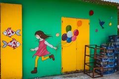 TAM THANH, TAM KY, VIETNAM - MAART 16, 2017: Geschilderde muur, Straatkunsten in Tam Thanh-muurschilderingdorp Stock Fotografie