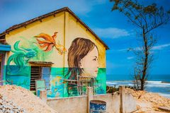 TAM THANH, TAM KY, VIETNAM - MARCH 16, 2017: Painted wall, Street arts in Tam Thanh mural Village. Stock Image