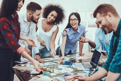 Tam of Young People. Project. Cooperation. Group. stock photos