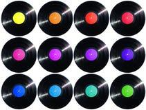 12 tamaño y etiquetas de la altura de los discos de vinilo 1500px Fotografía de archivo libre de regalías