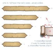 Tamaños de la etiqueta cinco de Tittle del papiro - bordes arqueados libre illustration