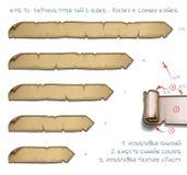Tamaños de la etiqueta cinco de Tittle del papiro - doblados y bordes de la esquina libre illustration