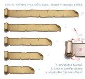 Tamaños de la etiqueta cinco de Tittle del papiro - rodados y bordes arrugados ilustración del vector