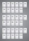 Tamaños del papel de los iconos estándar determinados Imagen de archivo libre de regalías