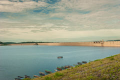 Tama jest dla budowy wielka tamy woda od Khun Dan p, Obrazy Royalty Free