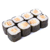 Tamago maki sushi rolls isolated on white background. Tamago maki sushi rolls on white table Stock Image