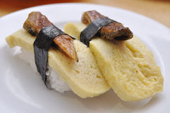 Tamago Sushi. Had this tasty sushi in a Japanese restaurant stock photos