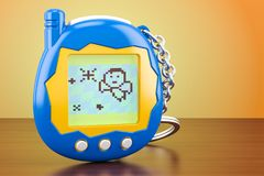 Tamagotchi game, pets pocket game on the wooden table. 3D render. Tamagotchi game, pets pocket game on the wooden table. 3D royalty free illustration