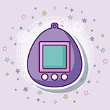 Tamagotchi icon image. Tamagotchi icon with colorful stars over purple background, vector illustration Stock Photography
