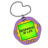 Tamagotchi pets pocket game. Beginning of life. Object on a white background. Tamagotchi pets pocket game. Text on the screen. Beginning of life. New level royalty free illustration