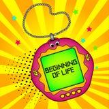 Tamagotchi pets pocket game. Beginning of life. Tamagotchi pets pocket game. Text on the screen. Beginning of life. New level, birth. Comic book style imitation vector illustration