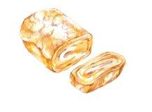 Tamagoyaki frais, illustra doux japonais de dessin de gril de petit pain d'oeufs illustration de vecteur
