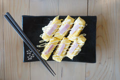 Tamagoyaki naczynie Fotografia Royalty Free