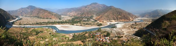 Tamakoshi Nadi river in Nepalese himalayas Royalty Free Stock Photos